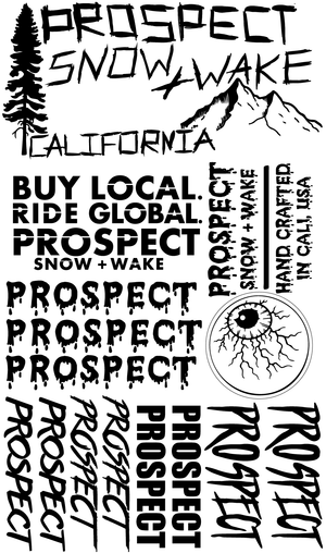 Prospect Snowboard and Wakeboard Sticker pack free black