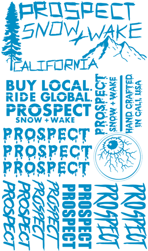 Prospect Snow and Wake Sticker pack free blue