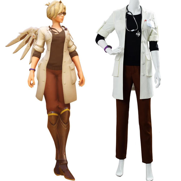 Overwatch Mercy Dr. Angela Ziegler skin Cosplay Costume