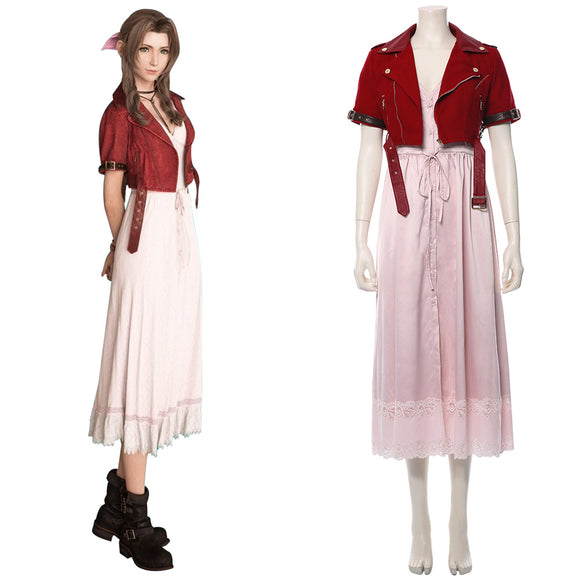 Final Fantasy VII : Remake FF7 FF VII Aeris Gainsborough Cosplay Costume