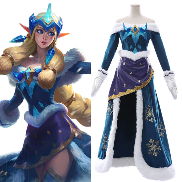 League of Legends Winter Wonder Soraka Snow Ice Skin Cosplay Costume