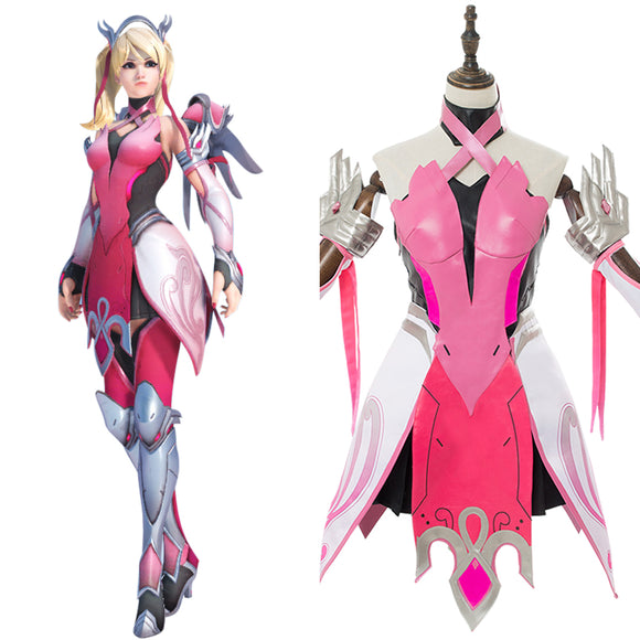 Overwatch Mercy Ange Rose Pink Mercy Skin Cosplay Costume
