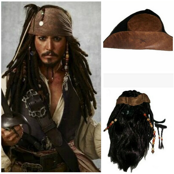 Pirates of the Caribbean Jack Sparrow Chapeau+Perruque+Moustache