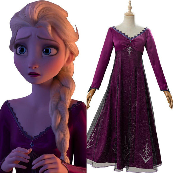 La Reine des neiges 2 Frozen Elsa Robe Pourpre Cosplay Costume