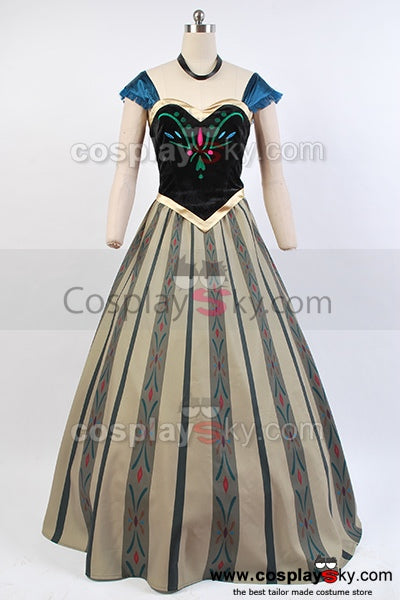 La Reine Des Neiges Princesse Anna Robe du Couronnement Cosplay Costume
