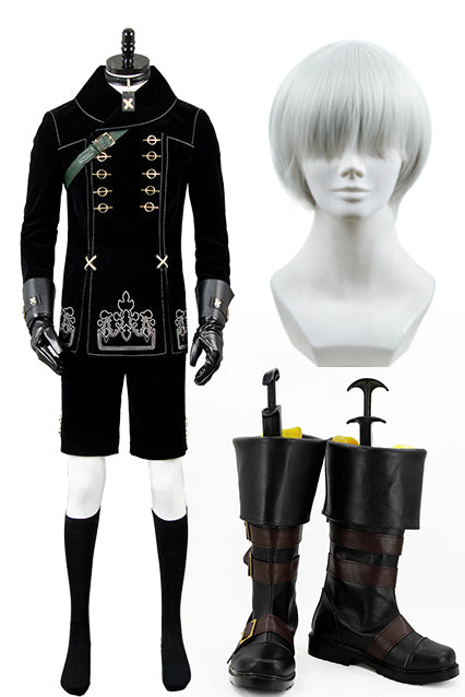 NieR:Automata 9S Cosplay Costume+Perruque+Bottes