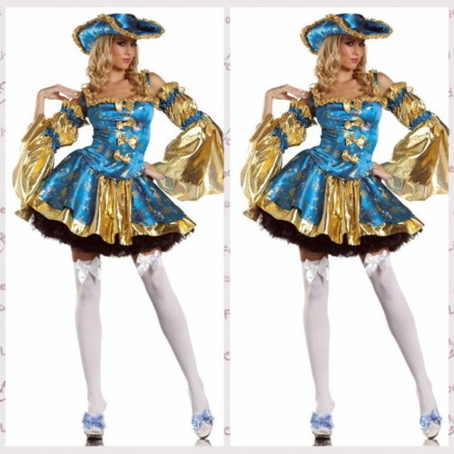 Halloween Sexy Bleu Pirate Luxury Taille d'Adult Cosplay Costume