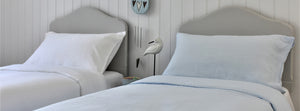 White and Pale Blue Linen Kids Beds
