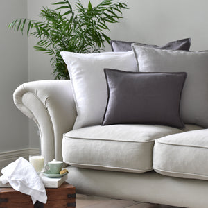 White Linen Cushion on a Linen Sofa
