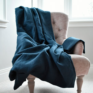 Dark Navy Linen Sheet on a Pink Velvet Chair