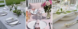 Pink, Grey and White Linen Tablecloths UK