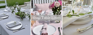 Pink and White Linen Tablecloths in a Garden