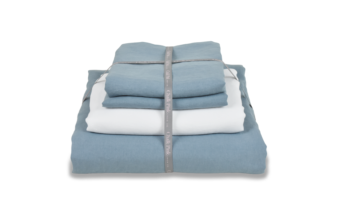 Light Blue Linen Bedding Bundle with White  Linen Sheet