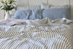 Blue Stripe Bed Linen with Blue Pillowcases