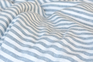 Pure Linen Flat Sheet in Blue Stripe