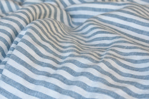 Blue Striped Ticking Linen Fabric Swatch