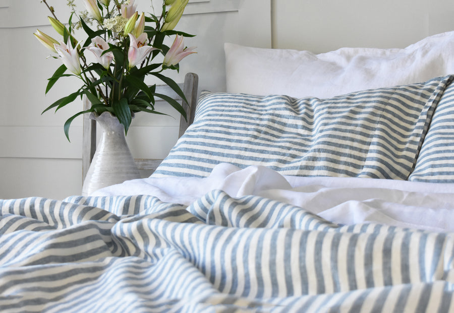 Blue Stripe Ticking Pillowcase