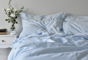 Light Blue Linen Duvet Cover with a Blue linen Sheet