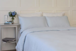 King Bed with Natural Linen Quilt Cover in Light Baby Blue