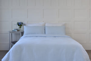 Super King Bed in a Bedroom with Pale Blue Pure Linen Quilt Cover