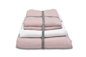 Blush Pink Linen Duvet Cover With a White Linen Sheet