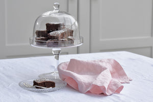 Pink Linen Napkin With Chocolate Brownies