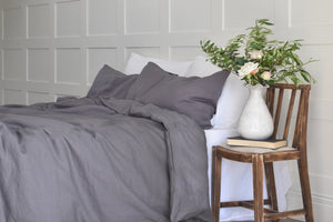 Dark Grey Kingsize Linen Duvet Cover in a Cream Panelled Bedroom