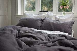 Grey Linen Double Duvet Cover on a bed in front of a White Window