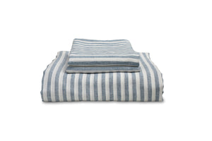Blue Stripe Bedding Folded with Pillowcases