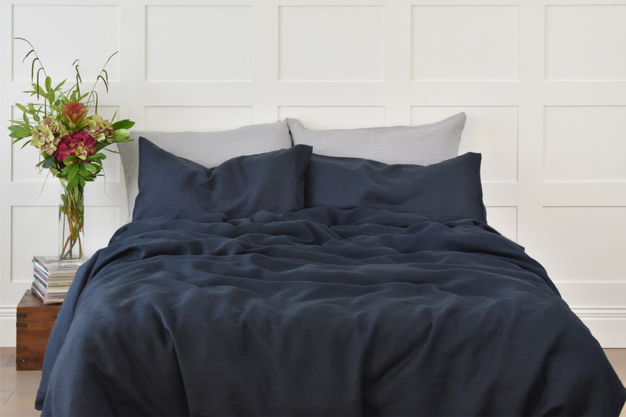 Dark Blue Linen Duvet set with white sheet