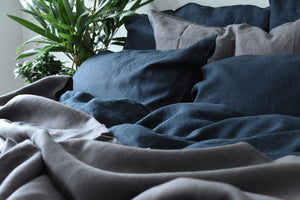 Dark Blue Linen Bedding with Charcoal Grey Pillows