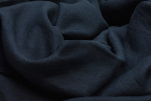 Dark Blue Linen Quilt Cover on a Bed