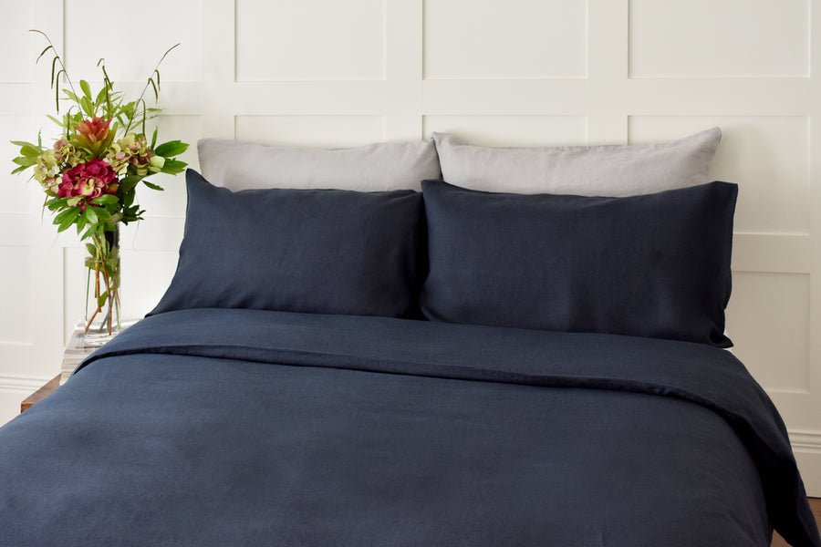 Deep Blue Linen Duvet Cover set on a King bed