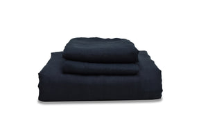 Folded Navy Blue Linen Duvet Cover Set