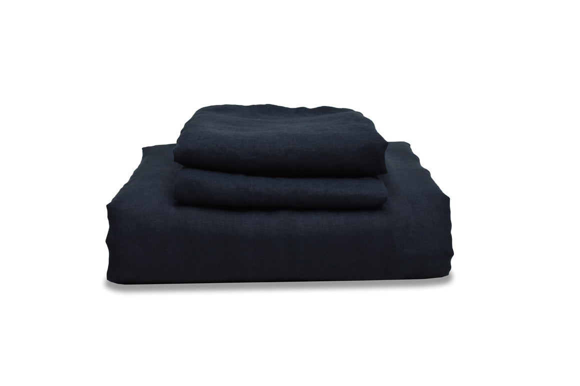 Dark Blue Linen Duvet Cover on White Panelling