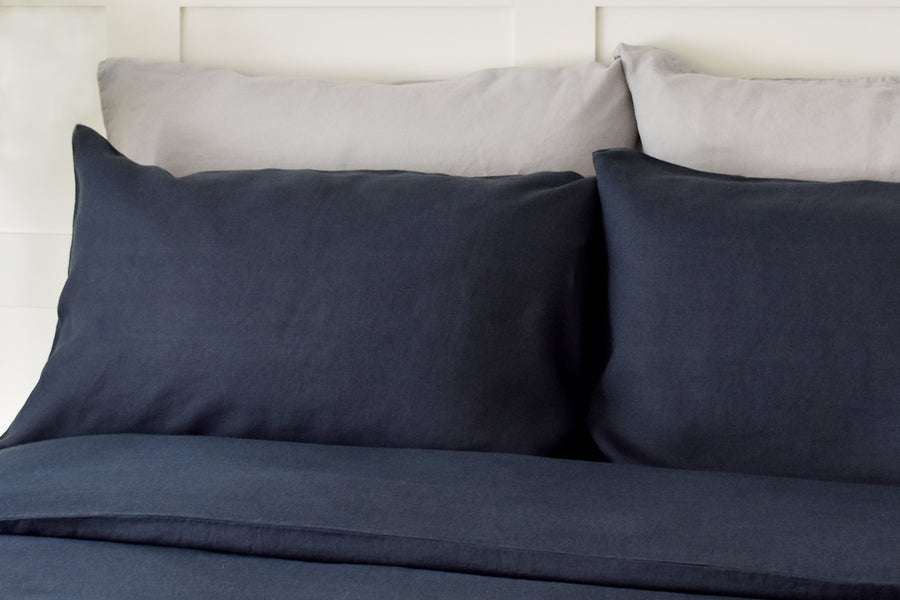 Blackest Blue Linen Housewife Pillowcase