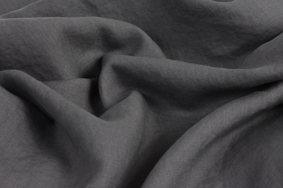 Charcoal Grey Pure Linen Sheet on a Double Bed