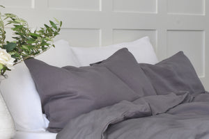 Charcoal Secret Grey Linen Pillowcase