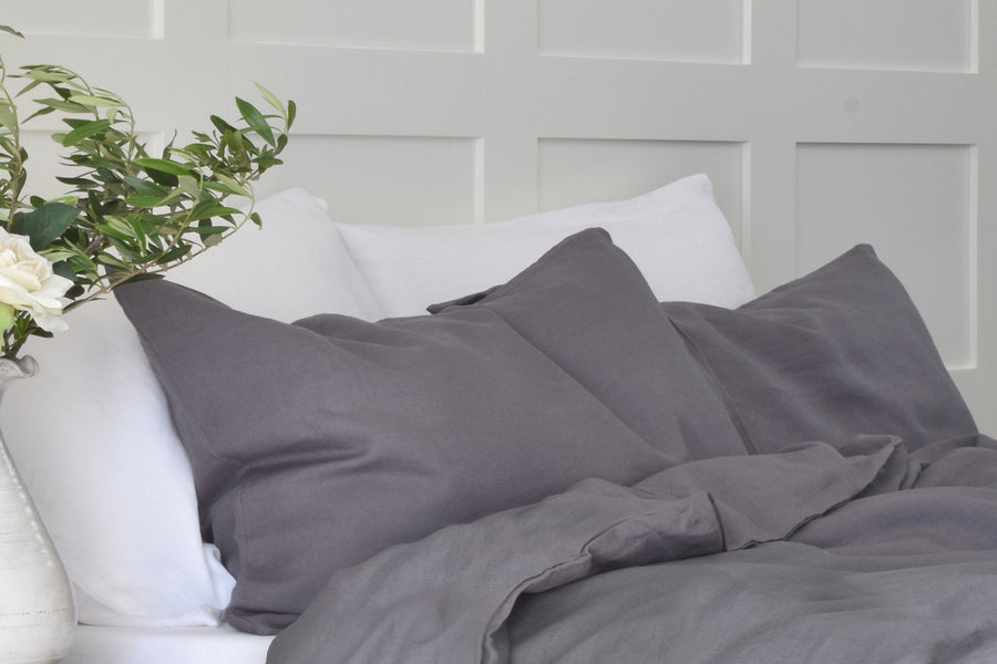 Dark Grey 100% Linen Pillowcase