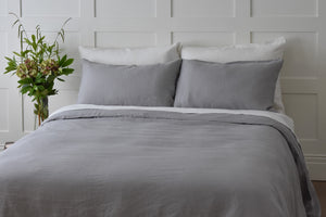 Dove Grey Linen Quilt Cover UK