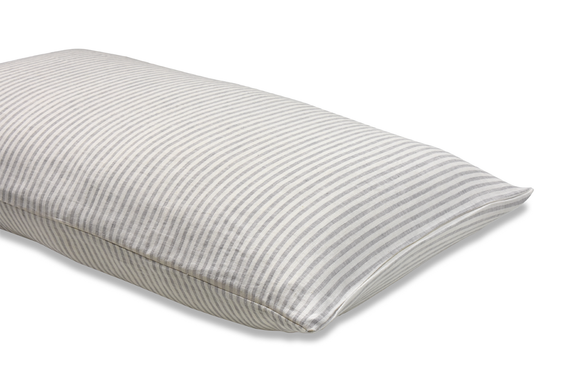 Ticking Stripe Linen Pillowcase on a white background