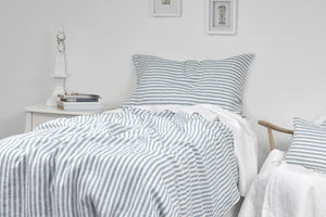 Untidy Blue Ticking Stripe Pure French Linen Bedding