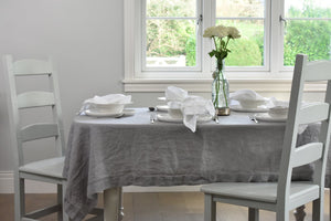 Light Grey Linen Tablecloth with White Napkins