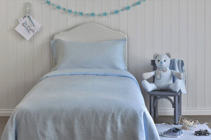 Light Blue Kids Bedroom with Linen Quilt Cover UK