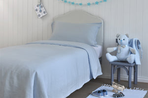 Pale Blue Childrens Linen Duvet Set UK