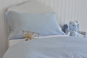Toy Plane on Whisper Blue Linen Bedding
