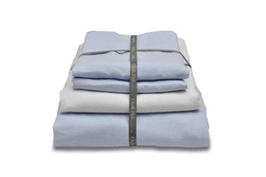 Light Blue Linen Duvet Cover with a White Sheet, Bedding Bundle