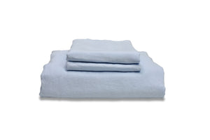 Folded Light Blue French Linen Bedding in King size