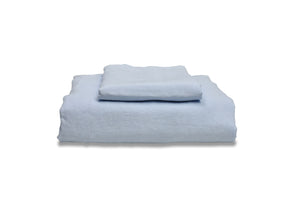 Folded Light Blue French Linen Childrens Duvet Cover Set