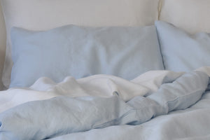 Light Blue Linen Pillowcases with a Still White Linen Sheet